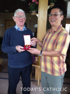 In August, Bishop Richard Ng went to Ireland to present the award of Pingat Terpuji Jubli Mas from the government to Br Columba.