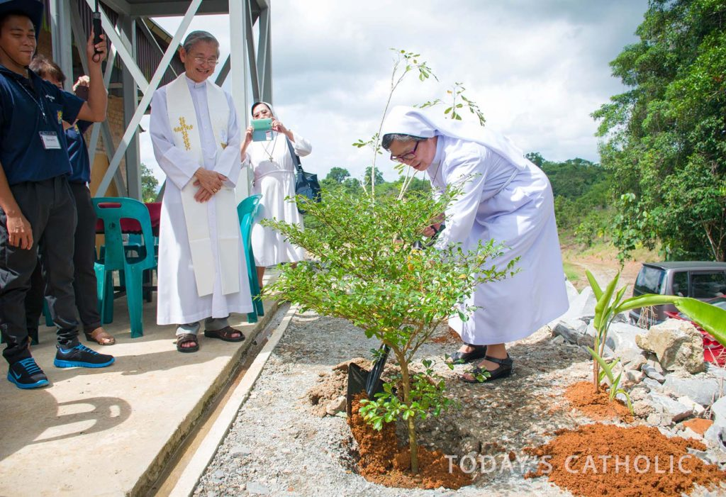 Sr Flora Tingang, the Superior General of SSFS, planting an Eucalyptus tree to commemorate the event